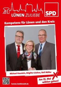 Plakat zur Kommunalwahl 2014 mit Hans-Michael Haustein, Brigitte Cziehso und Rolf Möller