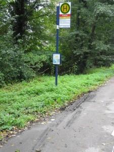 verschmutzter Fuss- Radweg vor der Bushaltestelle Am Friedhof vor der Schlaglochsanierung