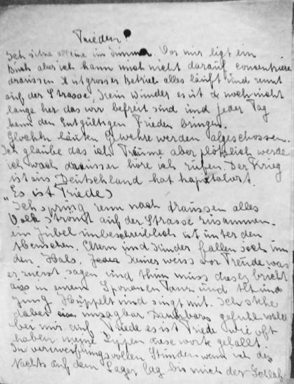 """Erste Seite des Tagebuchauszuges """"Frieden"""" von Elsa Terhoch"""