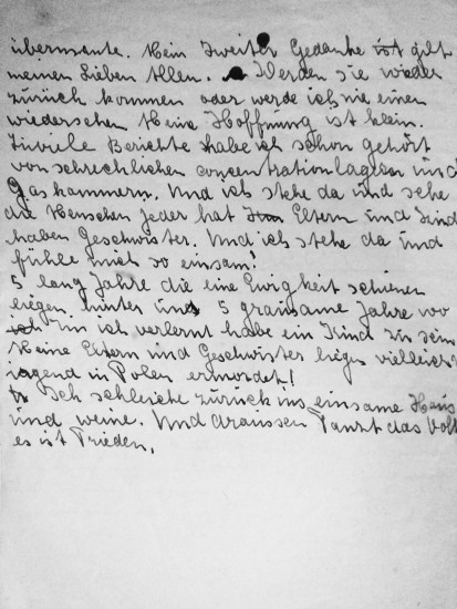 """Zweite Seite des Tagebuchauszuges """"Frieden"""" von Elsa Terhoch"""
