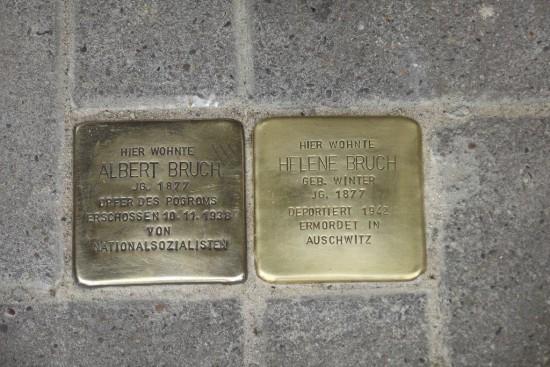 Die Stolpersteine für Albert und Helene Bruch, Jägerstraße 45A